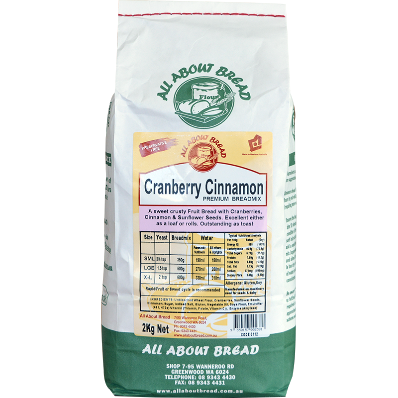 All About Bread Cranberry Cinnamon Braedmix 2kg